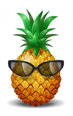 simpatico ananas con occhiali da sole